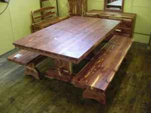 Big Six Foot Cedar Table With Two Heavy Benches - $450