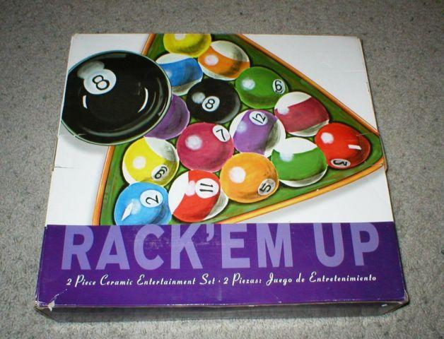 Billiard Pool Rack'em Up Ceramic Chip & Dip Set (2
