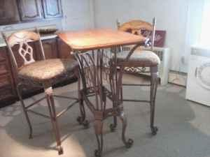 Bistro Table W Wine Rack And Two Chairs South Williamsort For
