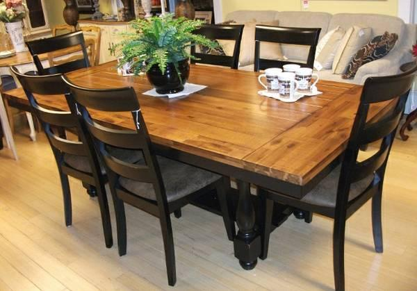 Black And Rustic Oak Dining Set   $1199