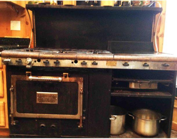 BLACK  BEAUTIFUL 1920s 6 BURNER GAS KITCHEN STOVE w GRILL  BROILER