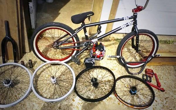 Bmx Purple And Black Black Bmx Bike And Multiple