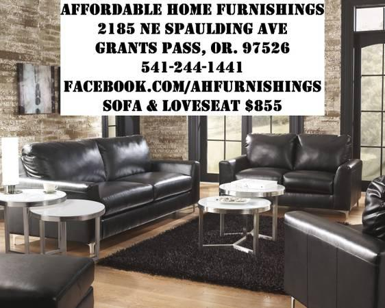 Black contemporary sofa loveseat with chrome legs for Affordable furniture grants pass