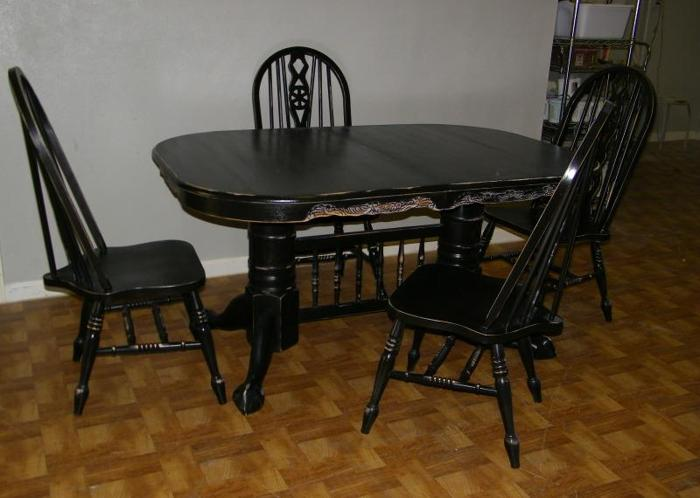 Black distressed table and 4 chairs katy west houston for I furniture houston