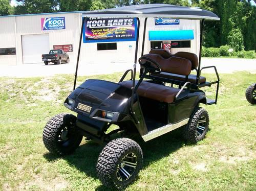 Black EZ-GO Golf Cart with Saddle Bag Brown Seats with Warranty for on