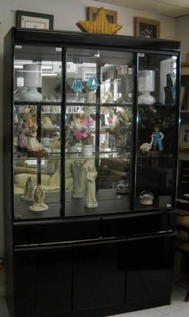 Black glossy china hutch - $80