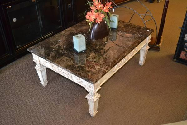 Black Granite Top Shabby Chic Coffee Table For Sale In