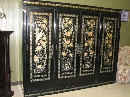 Black Lacquer Oriental Wall Unit For Sale In Fort Wayne