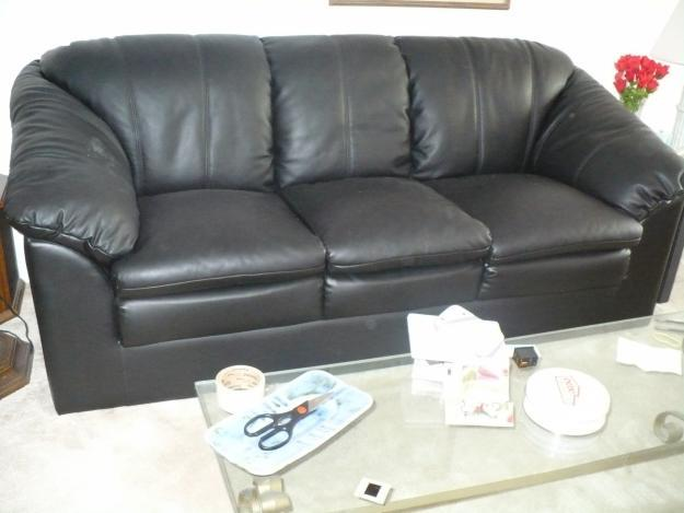Black Leather Couch Amp Matching Overstuffed Black Leather Armchair For Sale In Baltic South