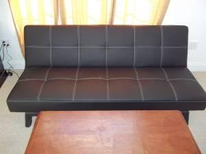 Black Leather Futon 125 Ridgeville
