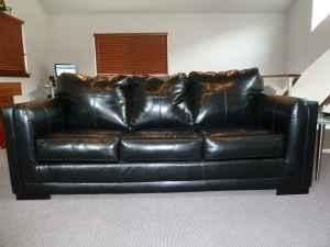 Black Leather Queen Size Sleeper Sofa Sale Manson For