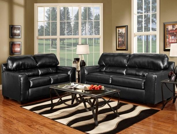 BLACK LEATHER SOFA LOVE MADE IN USA  90 DAYS SAME AS