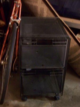 Black Metal Rolling Two Drawer Filling Storage Cart