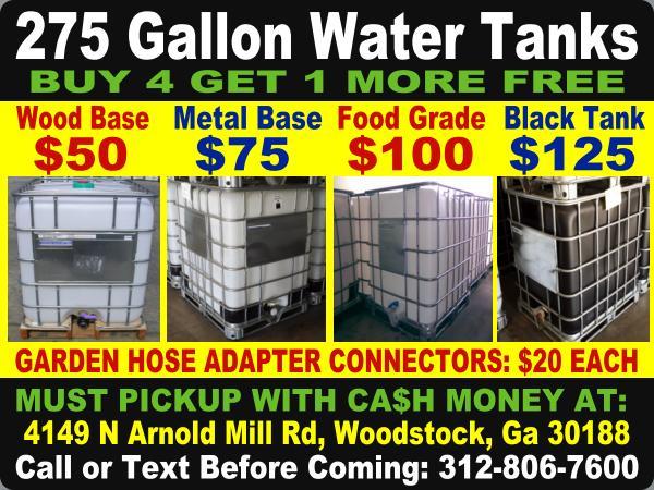 $5O ATLANTA GEORGIA ibc tote totes water tank tanks rain barrel barrels  plastic poly drum drums 275 gallon storage container