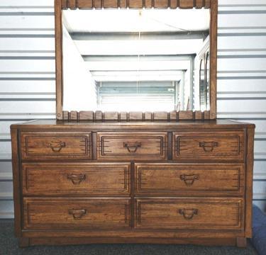 Black/Oak Large Bedroom Set: dresser, chest, desk, mirror, chair, ns