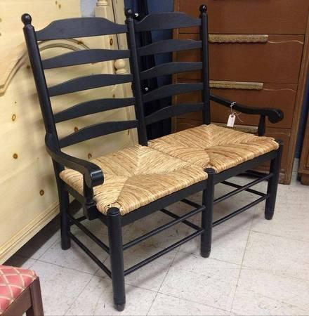 Black Painted Hierarchy Back Settee Bench T Rush Chair For