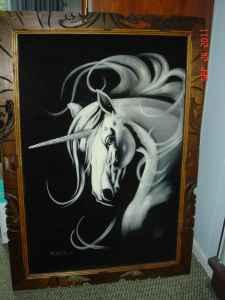 Black Velvet Unicorn Painting - Framed with Carved Wood