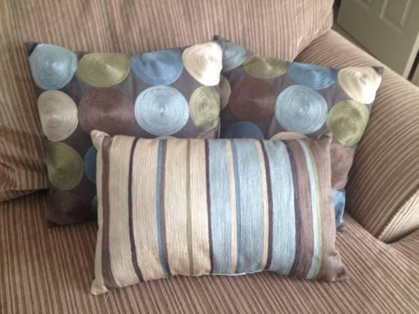 Blue and brown decorative pillow sets - $10