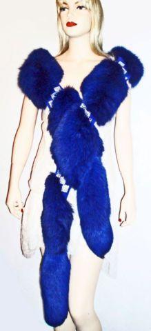 Blue Fox Fur Stole Wrap Crystals Encrusted, Gorgeous Royal Blue Fur