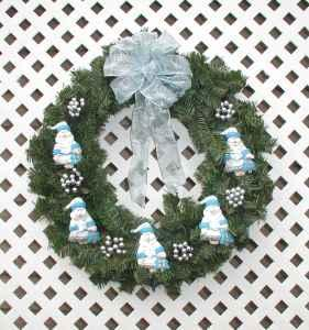 Blue, White and Silver Santa Ornaments Holiday Wreath -