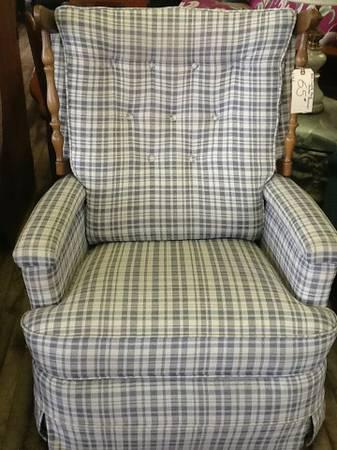 Blue Amp White Plaid Rocker Recliner For Sale In Greenwich