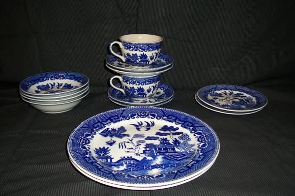 blue willow style china for sale in niles