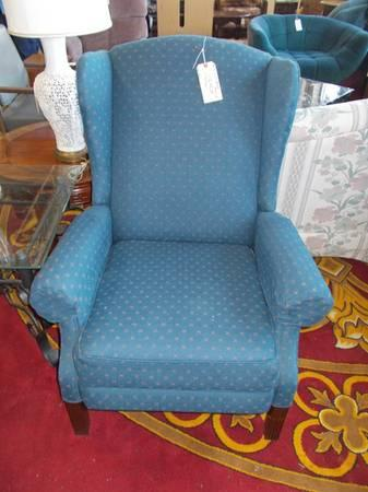 Blue Wing Back Recliner For Sale In Greenwich