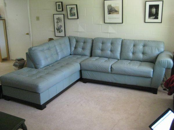 Blue leather 2 pc sofa sectional alton il for sale for Blue couches for sale