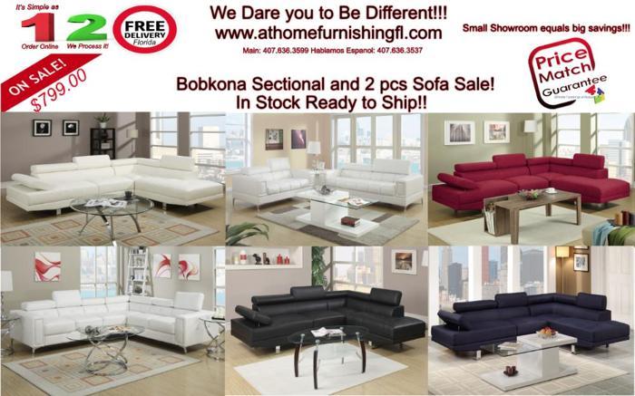 Bobkona New Sectional 2pcs Sofa Set Now Free