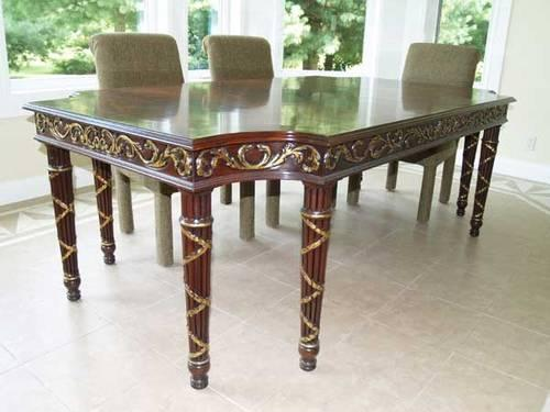 Bookmatched Crotch Mahogany Dining Table American Made Legs - Dining table with 3 leaves