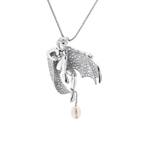 Boucheron 18K White Gold Diamond & Pearl Winged Woman