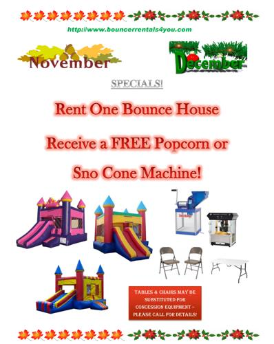 Bounce Houses - Fall and Winter Specials!