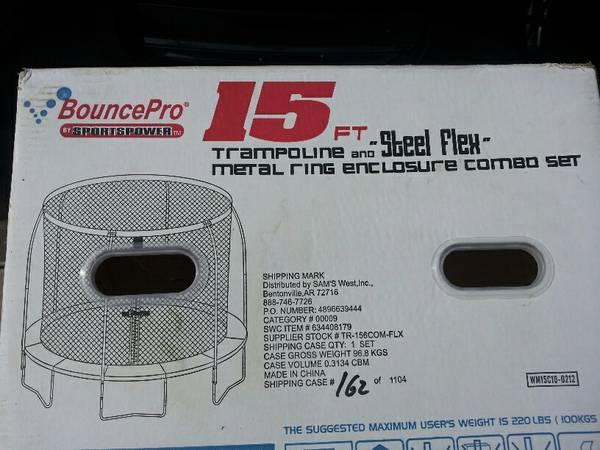 BOUNCEPRO SPORTSPOWER 15FT STEEL FLEX TRAMPOLINE FOR SALE - $75