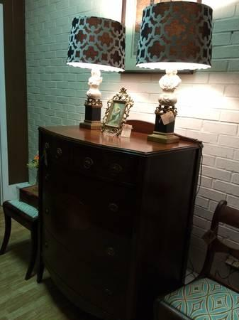 Bow Front Walnut Chest of Drawers - $325