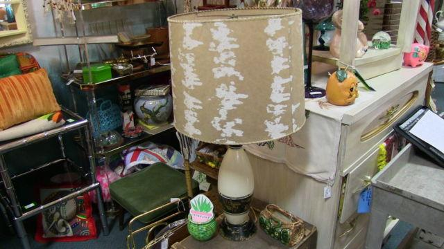 Bowling Pin Lamp with Fiberglass Shade