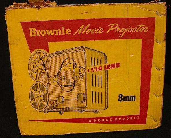 Boxed Vintage Kodak 8mm Brownie Movie Projector  Fold Up Screen