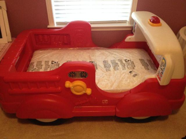 Boy Red Fire Engine Car Bed  Mattress