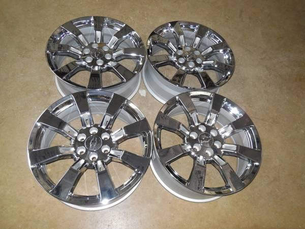 brand new 20 22 inch cadillac denali chrome oem style wheels rims for sale in austin texas. Black Bedroom Furniture Sets. Home Design Ideas