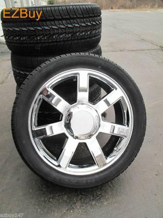brand new 24 inch cadillac denali chrome oem style wheels. Black Bedroom Furniture Sets. Home Design Ideas