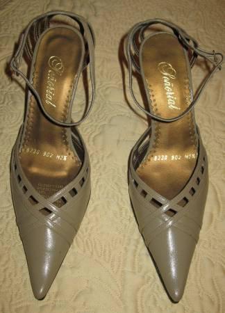 BRAND NEW Dark Beige leather high heel pumps Excellent