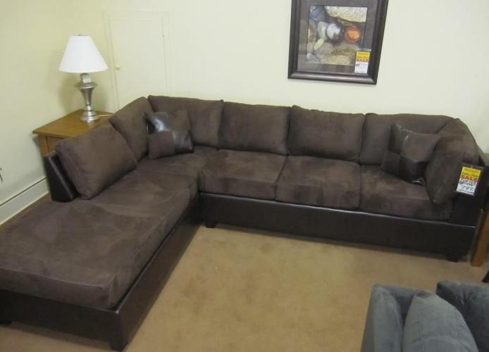 Brand new godiva microsuede sectional sofa bulk discount for Buy a cheap couch