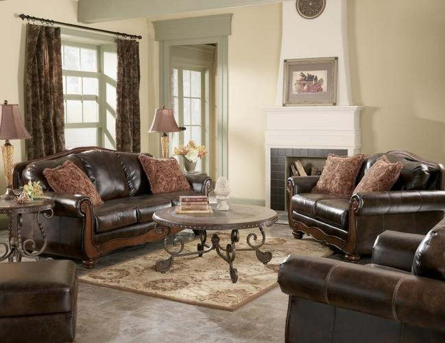 BRAND NEW LEATHER SOFA WITH WOOD TRIM ...