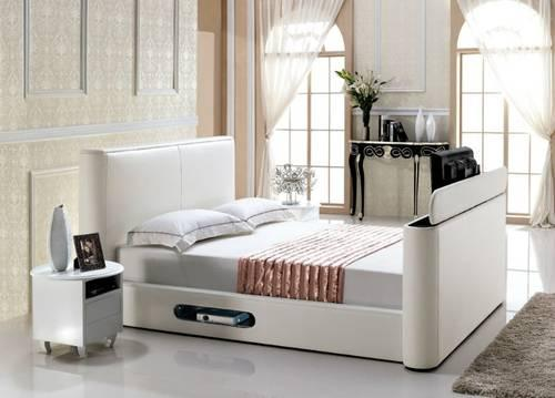brand new queen leather tv bed in white for sale in jacksonville florida classified. Black Bedroom Furniture Sets. Home Design Ideas