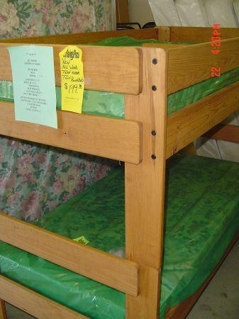 BRAND NEW SALE STAINED PINE TWIN OVER TWIN BUNK BED W