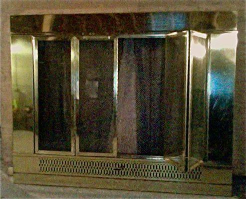 Brass Fireplace Screen Insert with Glass Doors - $75 - Brass Fireplace Screen Insert With Glass Doors - For Sale In