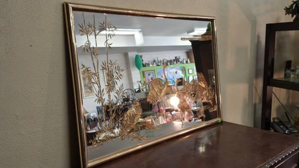 brass mirror with etched cranes for sale in sacramento