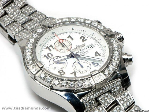 Breitling 16 Carat Diamond Breitling A13370 Super Avenger Chronograph Box Papers 48mm