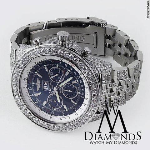 Breitling Bentley 6.75 Neptune Blue Stainless Dialjubilee Diamond Watch A44362