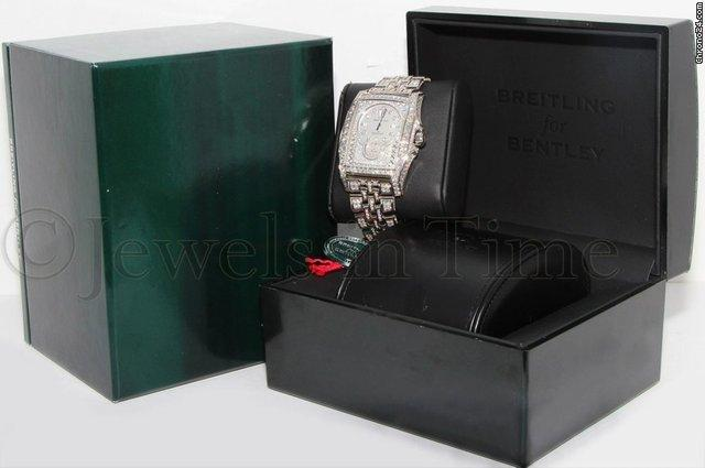 Breitling Bentley Flying B 18k White Gold ALL DIAMOND Mens Watch Box J28362