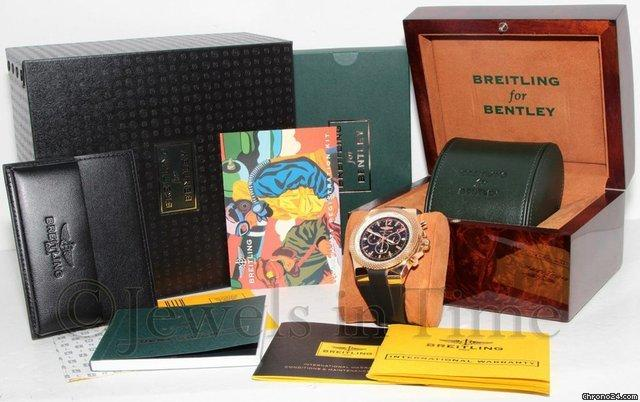 Breitling Bentley GMT Chronograph 18k Red Gold Mens Watch BoxPapers R47362